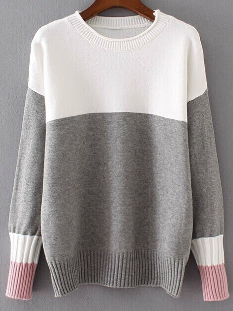 Color Block Ribbed Trim Drop Shoulder Sweater