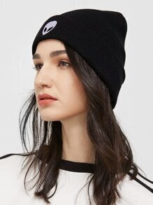 Black Alien Embroidered Ribbed Knit Beanie Hat