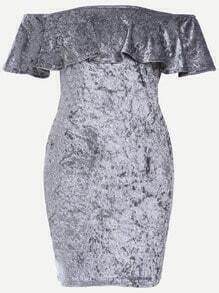 Grey Off The Shoulder Ruffle Velvet Bodycon Dress