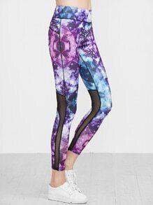 Leggings con estampado de malla en contraste - multicolor