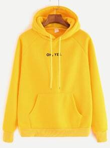 Yellow Letter Print Raglan Sleeve Drawstring Hooded Pocket Sweatshirt