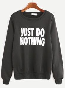 Black Slogan Print Long Sleeve Sweatshirt
