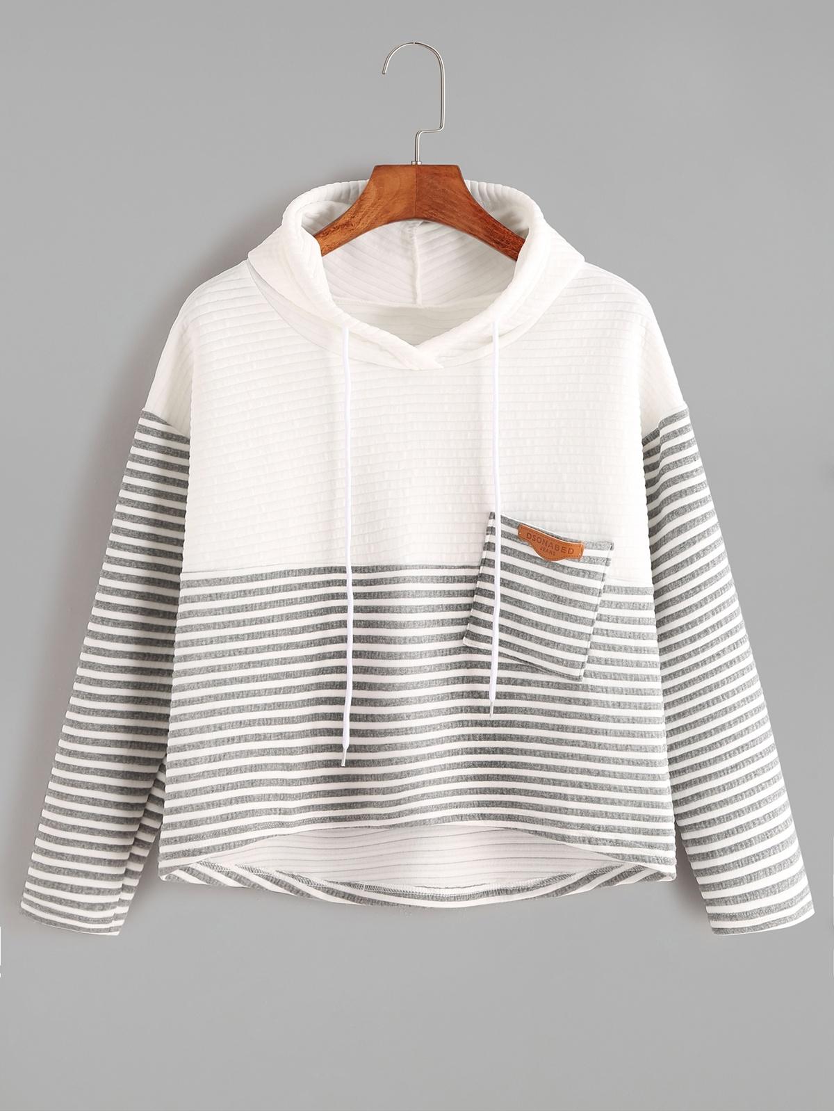 對比色 條紋的 高低 束帶 連帽 口袋 T恤衫