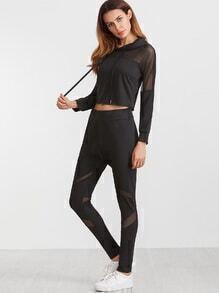 Black Contrast Mesh Drawstring Crop Hoodie With Pants