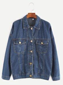 Deep Blue Dropped Shoulder Seam Pocket Front Denim Jacket
