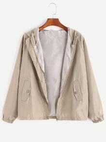 Raglan Sleeve Hooded Pocket Zip Up Coat