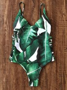 Green Leaf Print Ladder Cutout One-Piece Swimwear