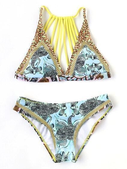 Collection de bikini imprimé à bretelles -multicolore