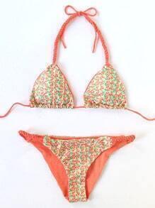 Sets de bikini halter con estampado floral tirante trenzado - naranja