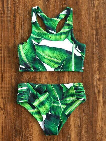 Green Leaf Print Ladder Cutout Racer Back Tankini