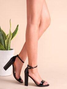 Sandales à talon chunky en cuir PU à bretelles verni -noir