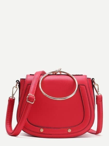 Red Faux Leather Metal Ring Flap Shoulder Bag