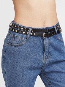 Black Studded Double Layer Skinny Leather Belt