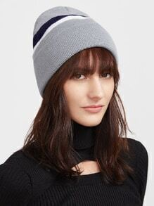 Grey Striped Ribbed Knit Beanie Hat