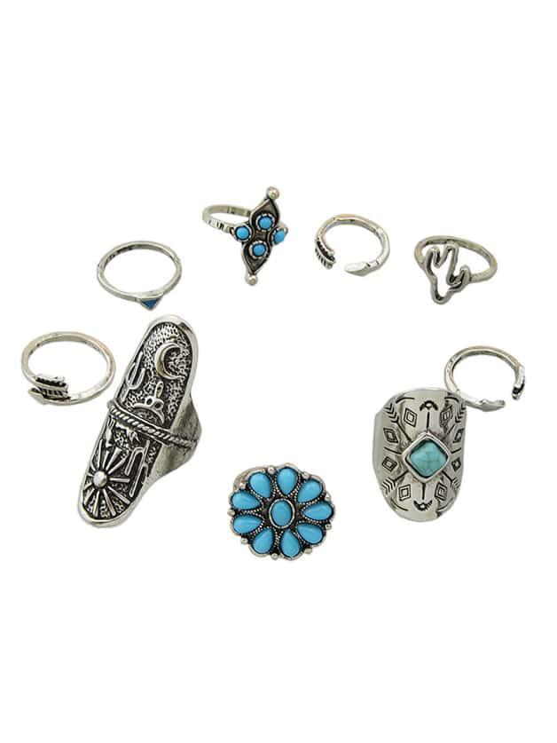 Серебристый Цвет, Пальцы, Кольца Комплект (9 Шт Один Комплект)