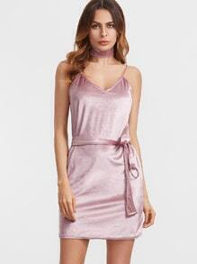 Pink Velvet Belted Slip Dress With Choker