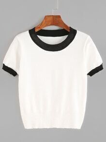White Contrast Trim Knitted T-shirt