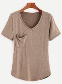 Khaki V Neck Pocket T-shirt