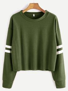 Army Green Drop Shoulder Varsity Striped Crop T-shirt