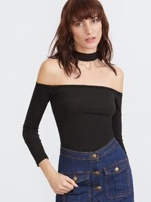 Black Choker Neck Tight T-shirt