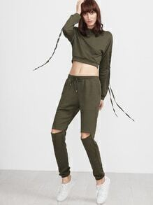 Buy Army Green Lace Crop Top Cutout Sweatpants