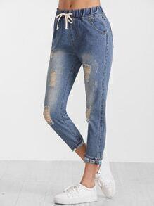 Jeans avec sangle déchiré -bleu