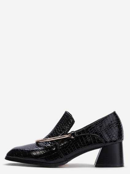Black Croc Embossed PU Embellished Chunky Pumps