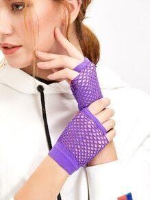 Purple Fingerless Nylon Mesh Golves