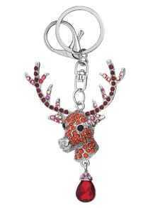 Porte-clés délicat renne pendantif -argenté