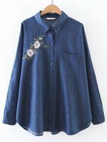 Blusa asimétrica con bordado de flor - azul