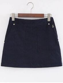 Navy Bear Embroidery Zipper Side Corduroy A Line Skirt