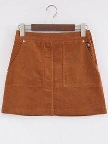Camel Bear Embroidery Zipper Side Corduroy A Line Skirt