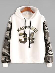 Sweat-shirt à manche camoflage imprimé à capuche contrasté