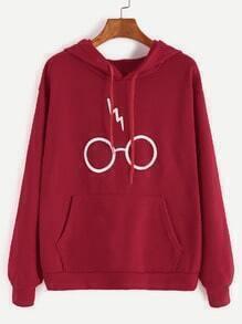 Kapuzensweatshirt Brillen Druck Tunnelzug Tasche-burgund rot