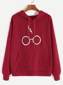 Burgundy Glasses Print Drawstring Hooded Pocket Sweatshirt