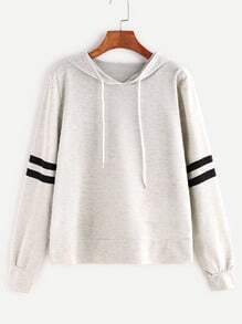 Heather Grey Varsity Striped Drawstring Hooded Sweatshirt