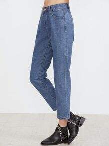 Blue High Waist Pocket Plain Jeans