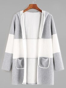 Pale Grey Contrast Dual Pocket Front Hooded Coat