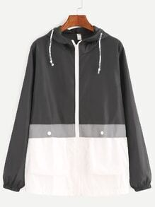 Contrast Drawstring Hooded Zip Up Coat
