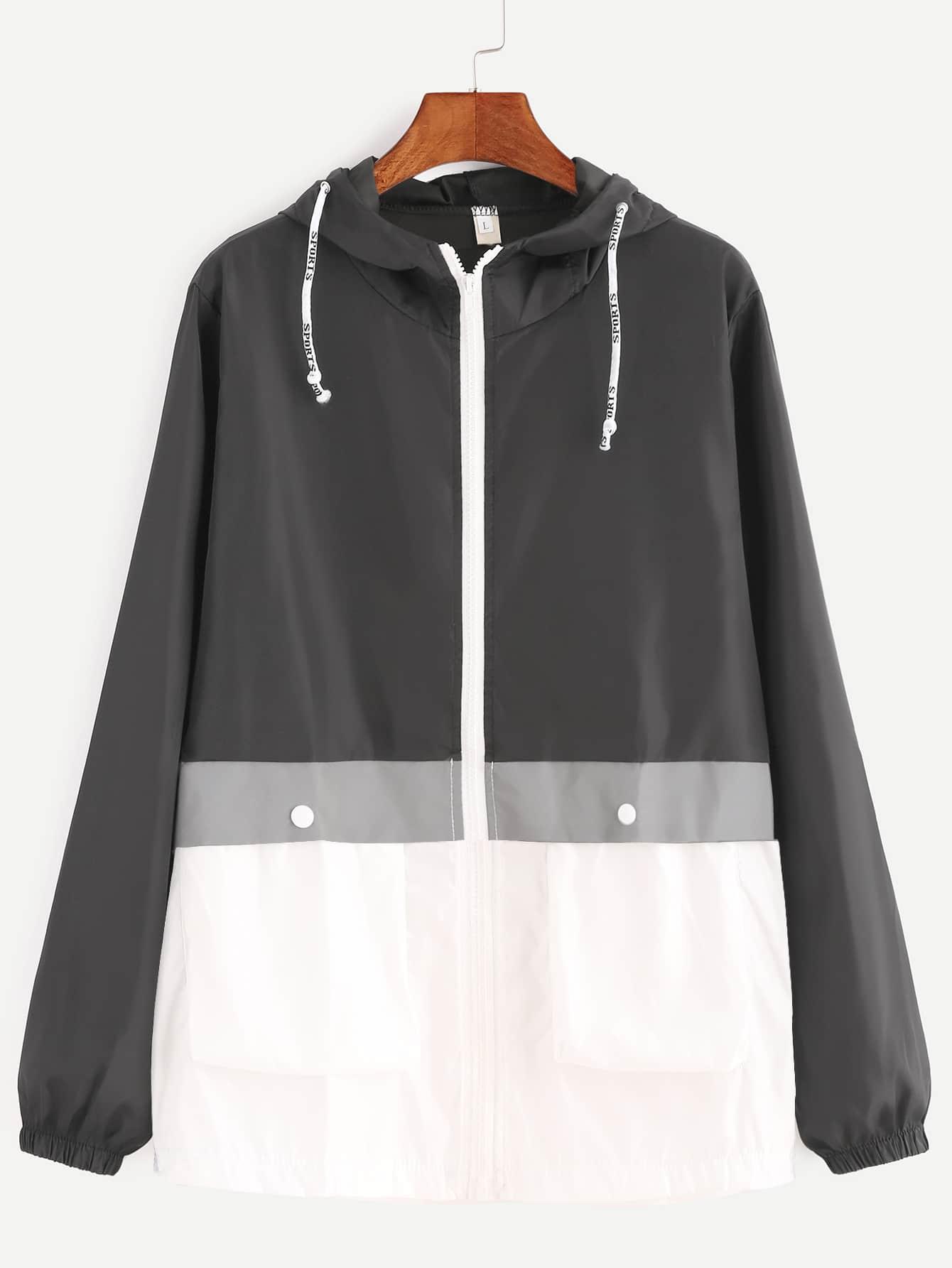 Контрастными Завязками С Капюшоном Zip Вверх Пальто