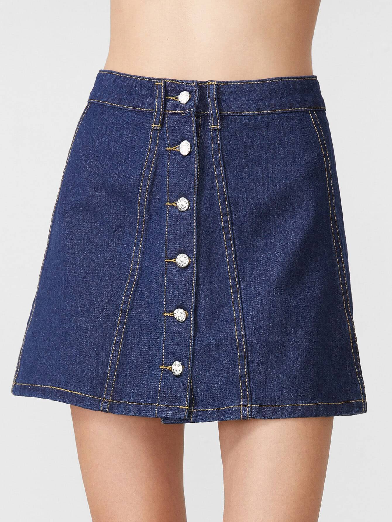 Deep Blue Single Breasted A Line Denim Skirt