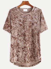 Khaki Short Sleeve High Low Velvet T-shirt