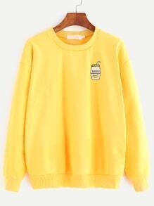 Sweat-shirt imprimé cartoon à l'épauel laissé couture -jaune