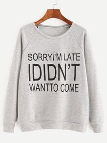 Heather Grey Letter Print Raglan Sleeve Sweatshirt