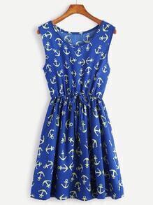 Dark Blue Anchor Print Drawstring Waist Dress