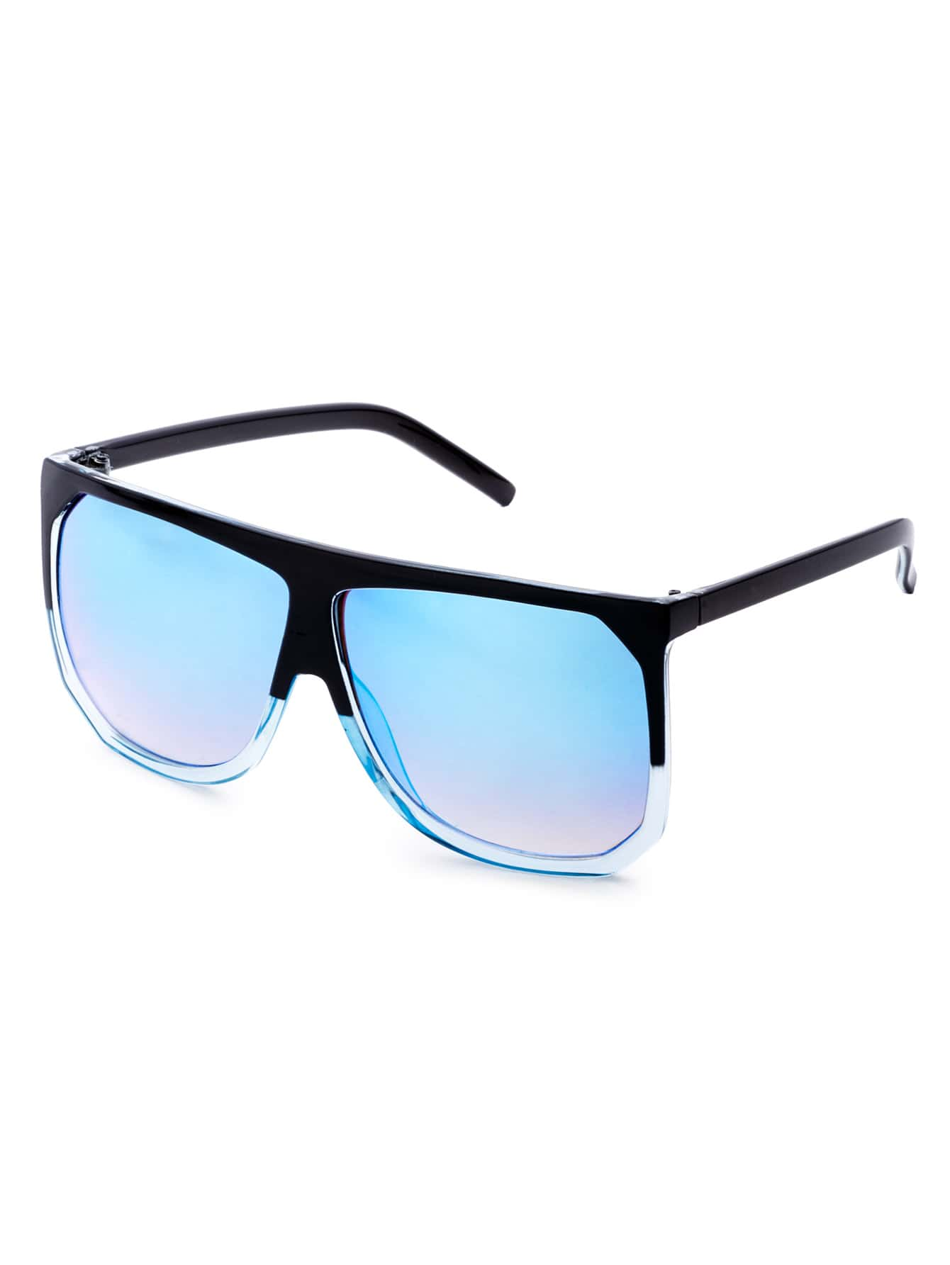 Contrast Frame Light Blue Lens Sunglasses