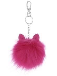 Porte-clés pompom charme petite monstre -violet