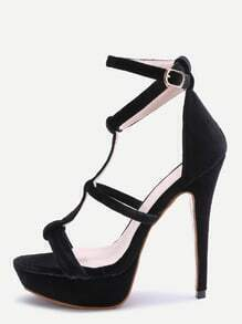 Black Open Toe Strappy Platform Heeled Sandals