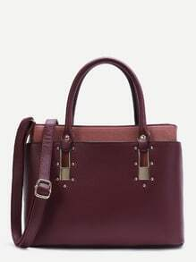 Burgundy Layered Faux Leather Boxy Tote Bag with Strap