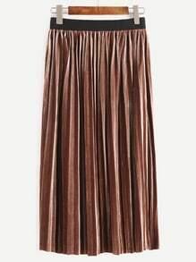 Khaki Contrast Trim Pleated Velvet Skirt